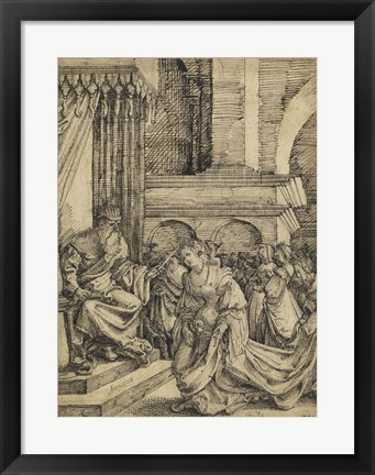 Framed Esther before Ahasuerus - drawing Print