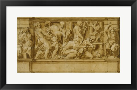 Framed Design for a Frieze with Worshippers Bringing Sacrificial Offerings Print