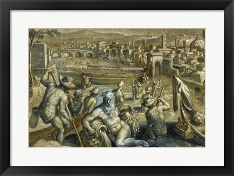 Framed Arno with Fishermen Print