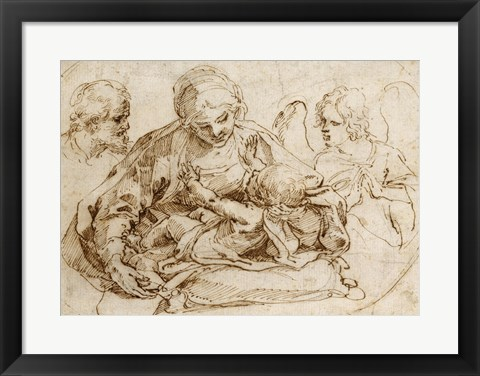 Framed Holy Family with an Angel Print