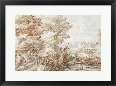 Framed Wooded Landscape with Travelers by a Stream, a Town Beyond Print
