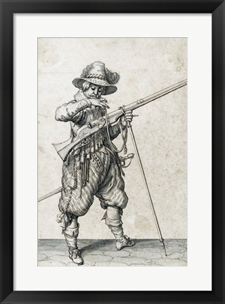 Framed Soldier on Guard Blowing Out a Match Print