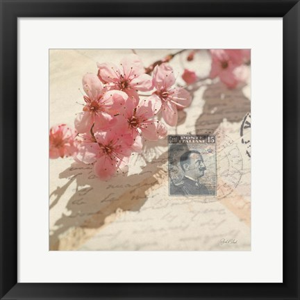 Framed Vintage Letters and Cherry Blossoms Print
