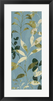 Framed Leaves on Blue I Print