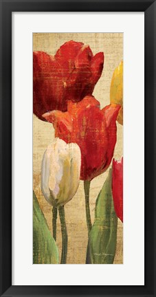 Framed Tulip Fantasy on Cream II Print