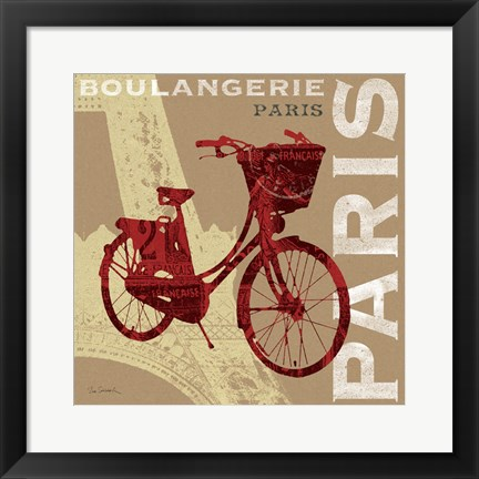 Framed Cycling in Paris Print