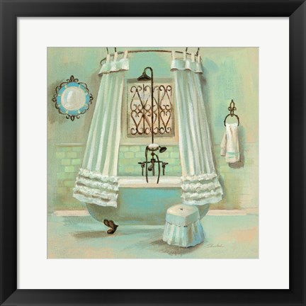 Framed Glass Tile Bath II Print