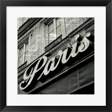 Framed Newsprint Paris Print