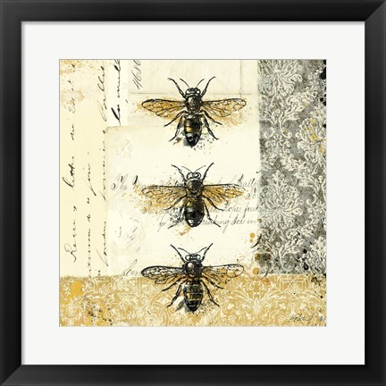 Framed Golden Bees n Butterflies No. 1 Print