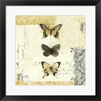 Framed Golden Bees n Butterflies No. 2 Print