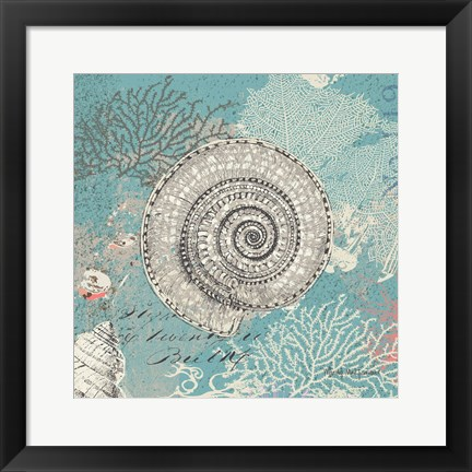 Framed Shells on Aqua Print