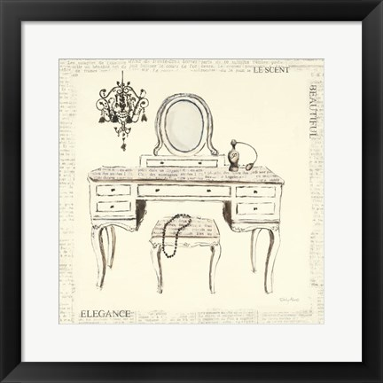 Framed Emily's Boudoir III Table Print