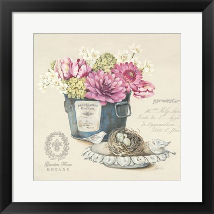 Framed Bouquet Naturel I Print