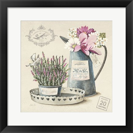 Framed Bouquet Naturel III Print