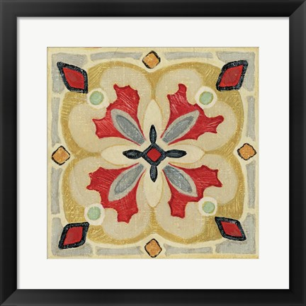 Framed Bohemian Rooster Tile Square III Print