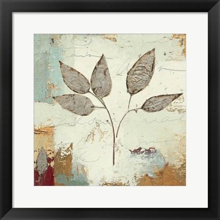 Framed Silver Leaves III Print