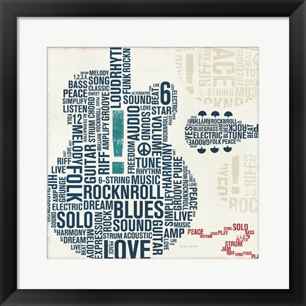 Framed Type Guitar Square II Print