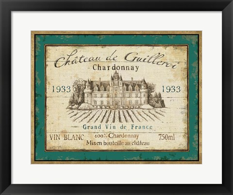 Framed French Wine Label IV Print