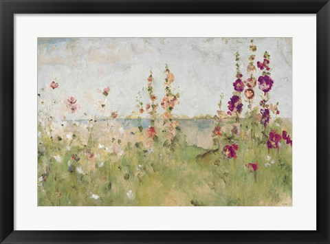 Framed Hollyhocks by the Sea Print