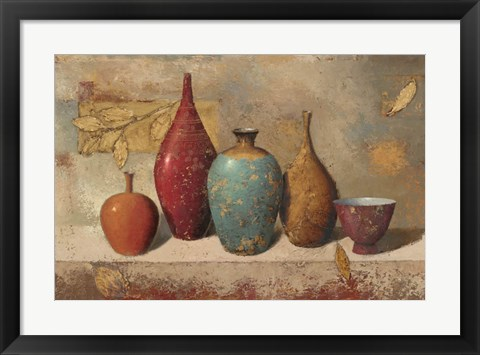 Framed Leaves and Vessels Print