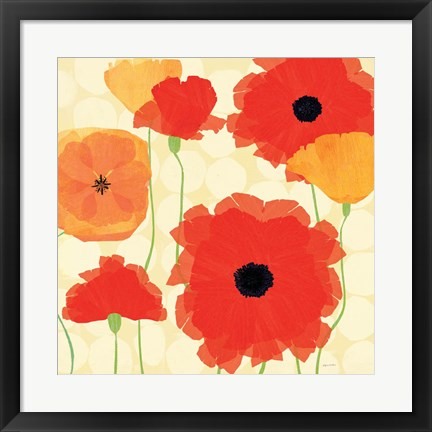 Framed California Poppies and Dots Print