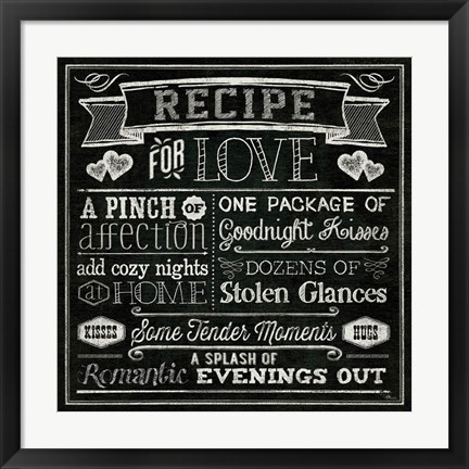 Framed Thoughtful Recipes III Print