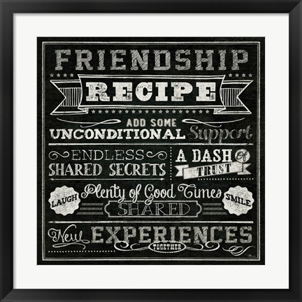 Framed Thoughtful Recipes IV Print