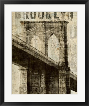 Framed Vintage NY Brooklyn Bridge Print