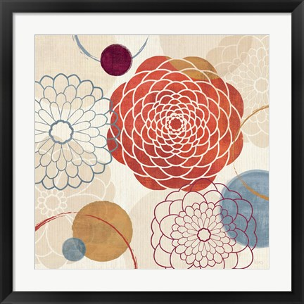 Framed Abstract Bouquet I Print
