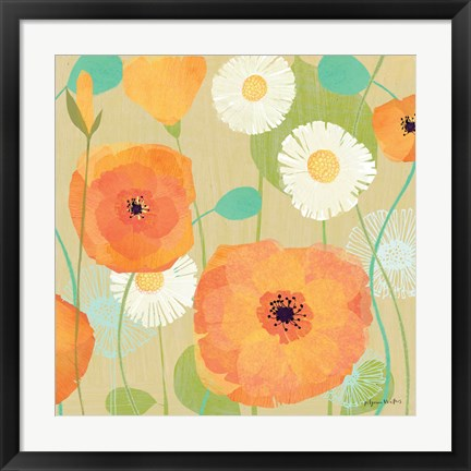 Framed Daisies and Poppies I Print