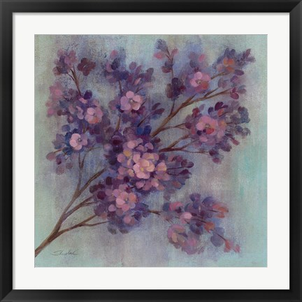 Framed Twilight Cherry Blossoms I Print