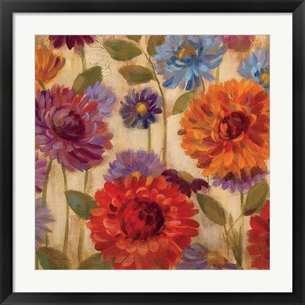 Framed Rainbow Dahlias Crop II Print