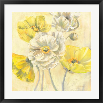Framed Gold and White Contemporary Poppies I Print