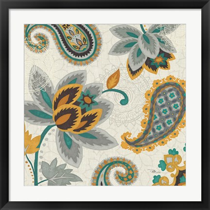 Framed Decorative Nature II Turquoise Cream Print