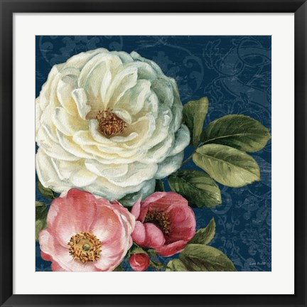Framed Floral Damask II on Indigo Print