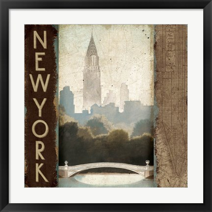 Framed City Skyline New York Vintage Square Print