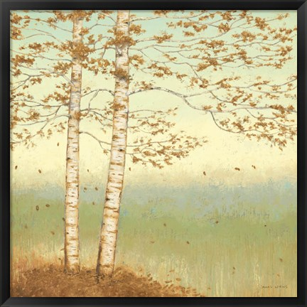 Framed Golden Birch I with Blue Sky Print