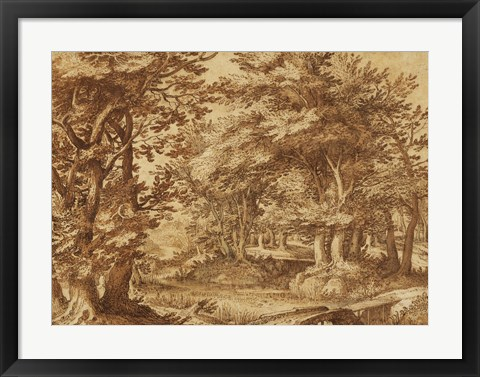 Framed Forest Landscape with a Distant Castle Print
