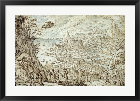 Framed Extensive Estuary Landscape with the Story of Mercury and Herse Print