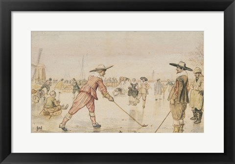 Framed Winter Scene with Two Gentlemen Playing Colf Print