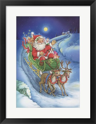 Framed Here Comes Santa Clause Print