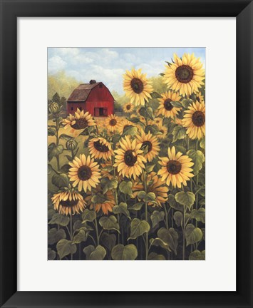 Framed Field of Sunflowers Print