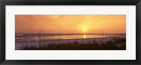 Framed Sea at dusk, Gulf of Mexico, Tigertail Beach, Marco Island, Florida, USA Print