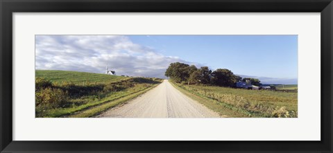 Framed Dirt road leading to a church, Iowa, USA Print