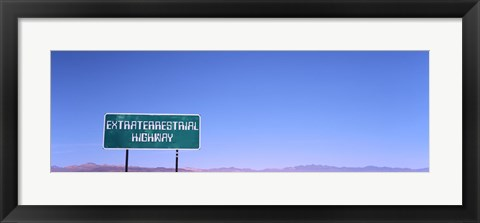 Framed Extraterrestrial Highway sign, Area 51, Nevada, USA Print