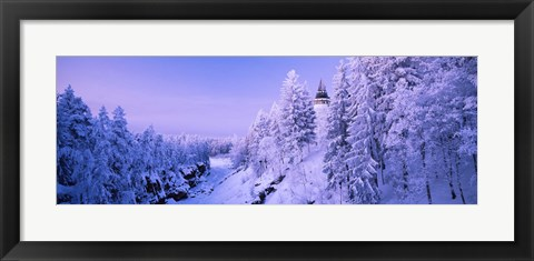 Framed Snow covered trees in front of a hotel, Imatra State Hotel, Imatra, Finland Print