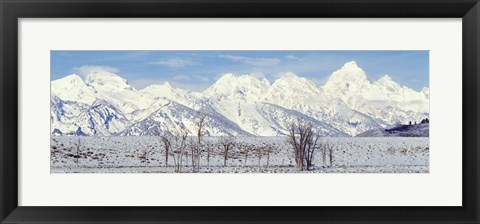 Framed Grand Teton Range in winter, Wyoming, USA Print