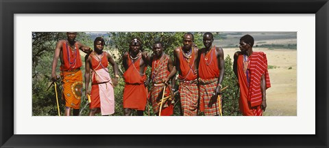 Framed Group of Maasai people standing side by side, Maasai Mara National Reserve, Kenya Print