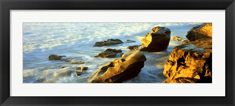 Framed Rock formations on the beach, La Jolla, California, USA Print