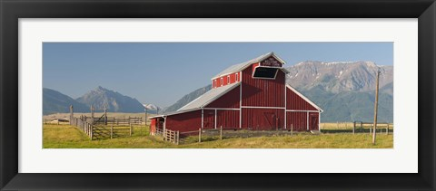 Framed Barn in a field with a Wallowa Mountains in the background, Joseph, Wallowa County, Oregon, USA Print
